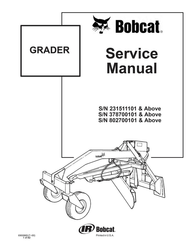 New Bobcat Grader Repair Service Manual 2000 6900885 Free