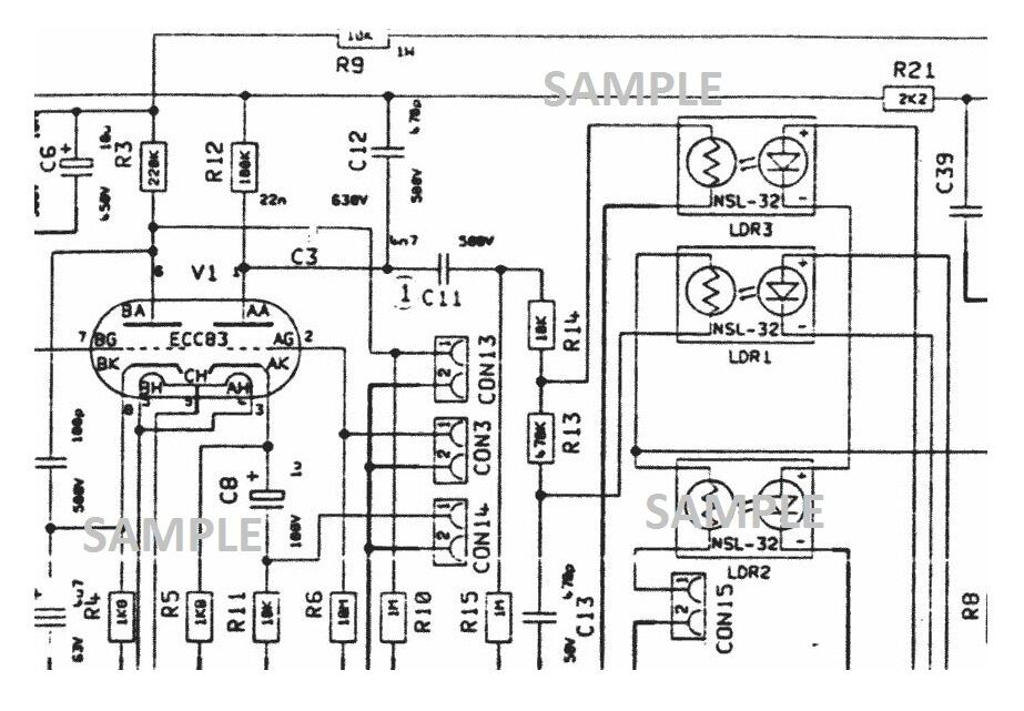 MARSHALL JCM 2000 DSL100 100w Amplifier Schematic Diagram