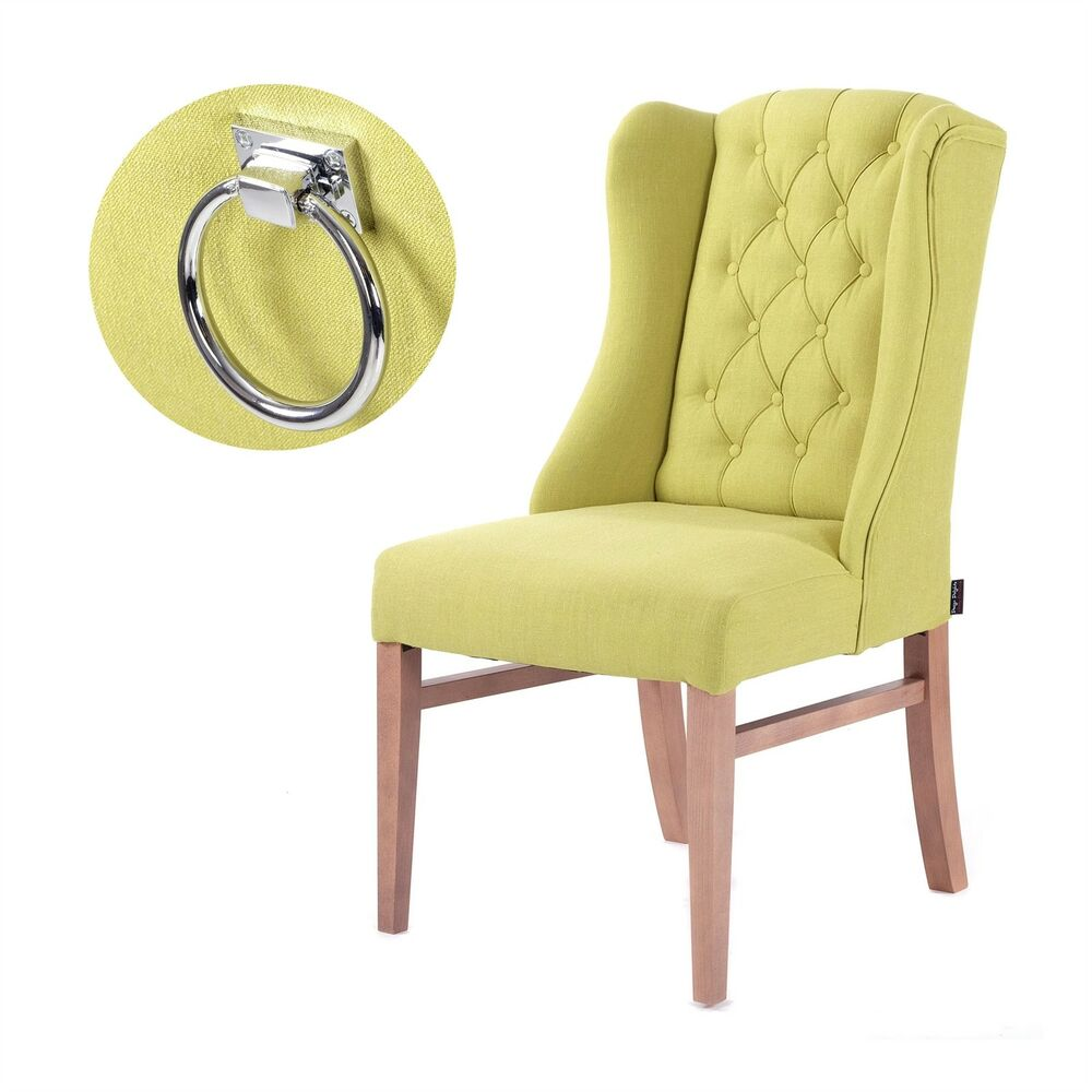 Green Upholstered Chair Upholstered Chair Classy Vintage Beech Wasabi Green Cover Chair With Ring 4250371544856 Ebay