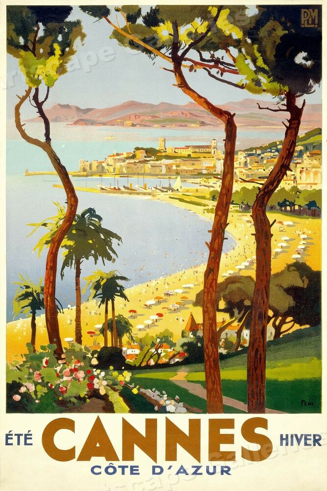 Cannes Vintage Style 1930s French Travel Poster 15x24 EBay
