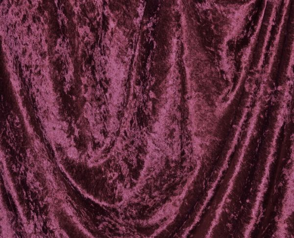 """Crushed Panne Velour Wine 60"""" Wide 100 Poly Fabric"""