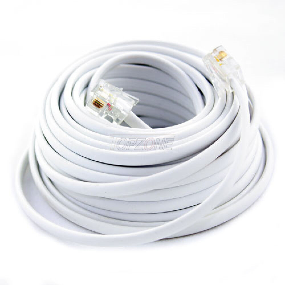 hight resolution of details about new 100ft 100 feet white phone line cord dsl cable 4 wires inside
