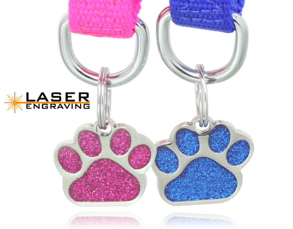 Glitter Paw Print Pet ID Tags Custom Engraved Dog Cat Tag