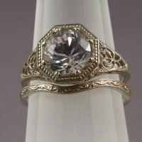 Antique Filigree Wedding Band/Engagement Ring Set (WS5)