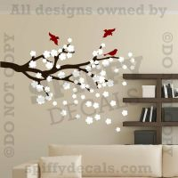 CHERRY BLOSSOMS BRANCH WITH BIRDS Vinyl Wall Decal Decor ...