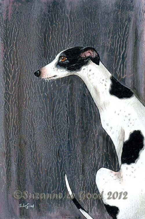 LARGE BLACK AND WHITE GREYHOUND DOG PAINTING FOREST PRINT