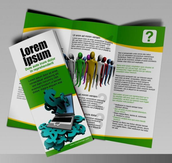 1000 Tri-fold Glossy Brochures Real Printing Full Color