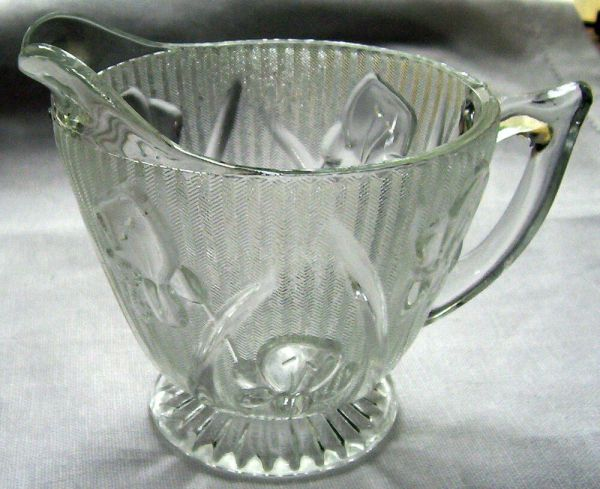 Jeannette Glass . Iris & Herringbone Crystal Footed