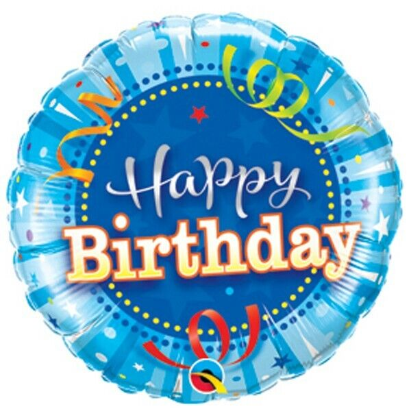 Qualatex Shining Star Blue Happy Birthday Mini Foil