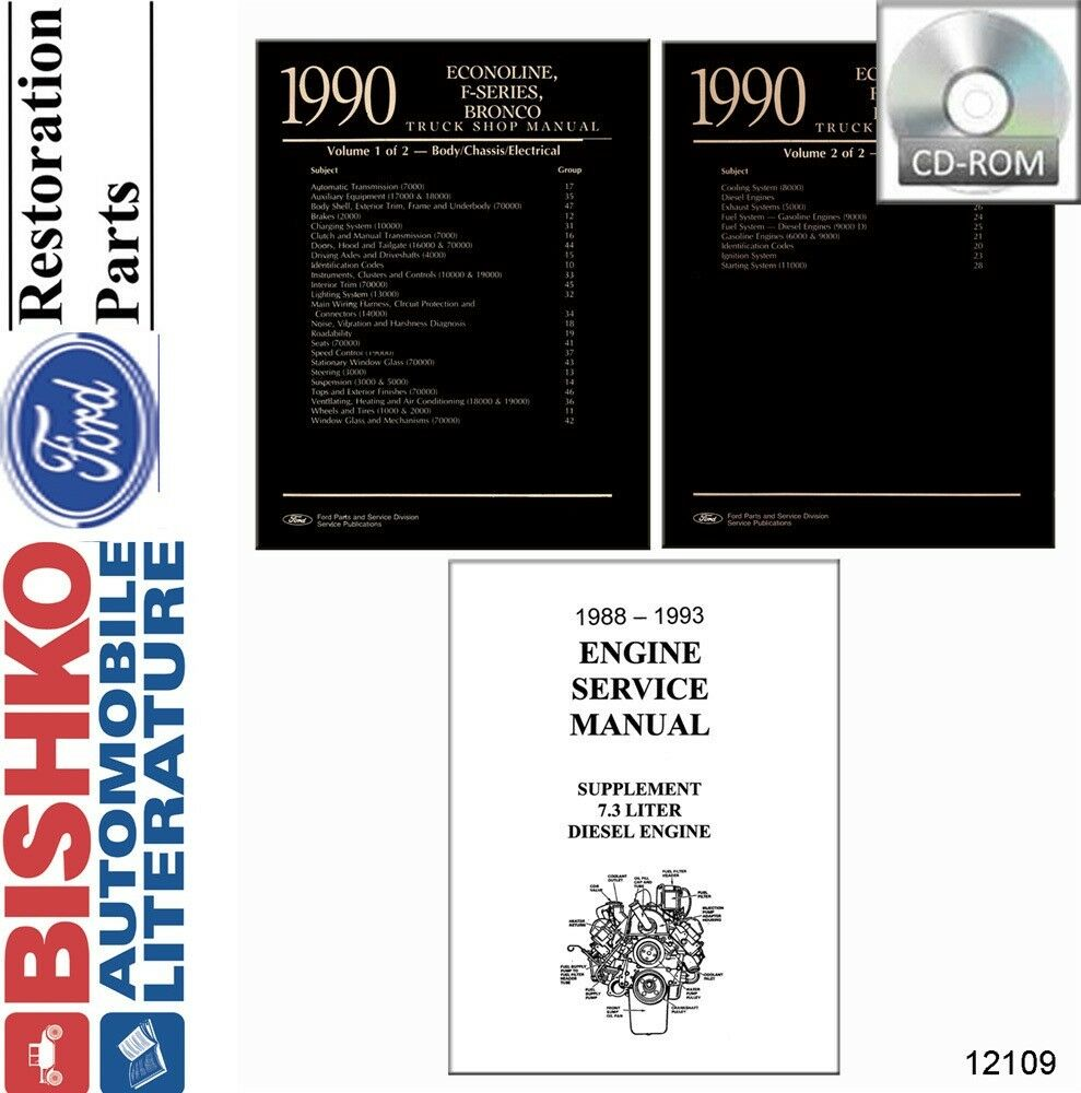 hight resolution of details about 1990 ford truck bronco econoline shop service repair manual cd