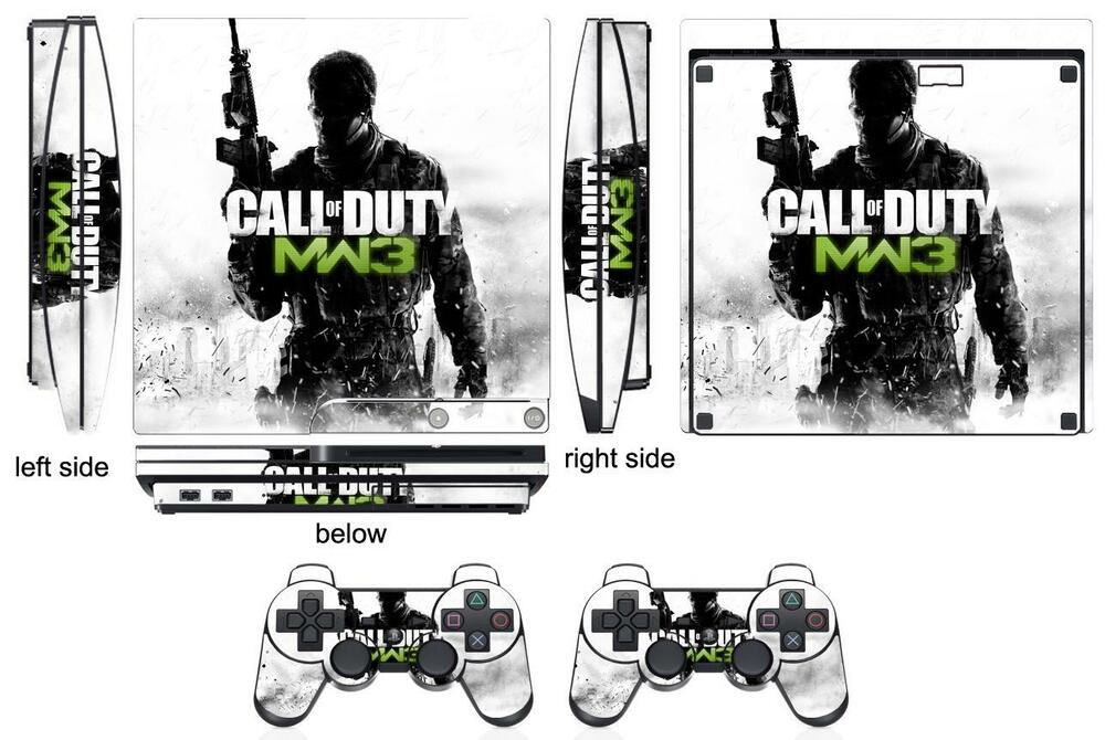 Skin Sticker for PS3 PlayStation 3 Slim and 2 controller