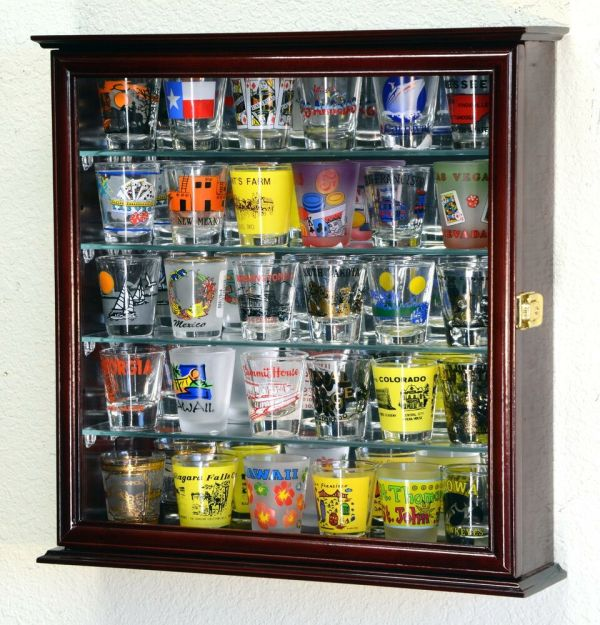 Shot Glass 16 Shooter Display Case Cabinet Withmirror Shotglass Rack