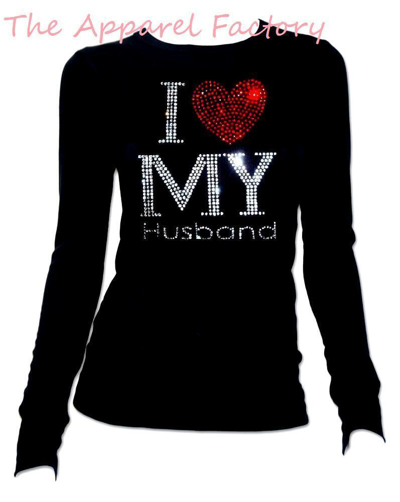Rhinestone I LOVE MY HUSBAND Black Long Sleeve T Shirt