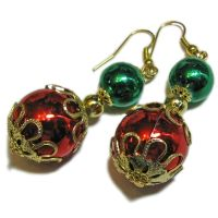 Festive Gold Tone Christmas Ball Earrings By SoniaMcD | eBay