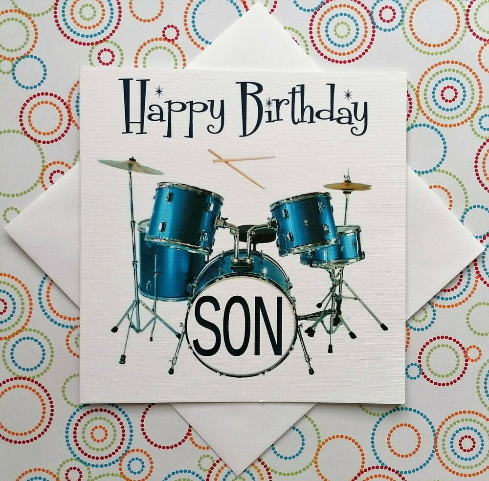 PERSONALISED HANDMADE DRUM KIT BIRTHDAY CARD DAD SON