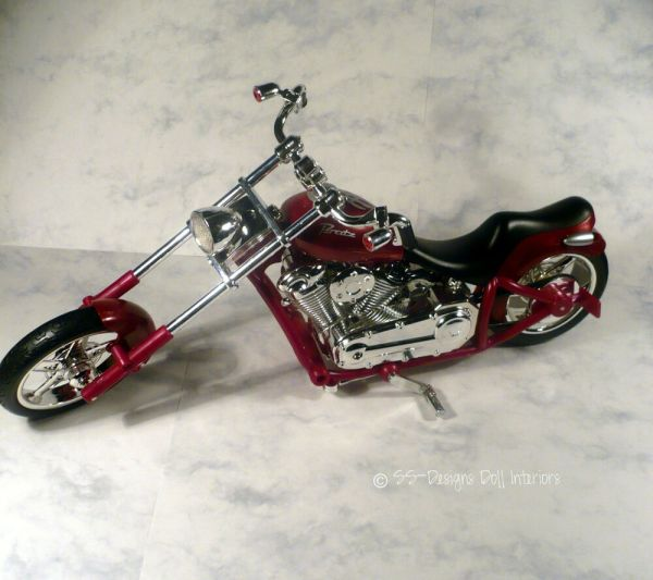 Barbie Ken Size Motorcycle Chopper Red Chrome Highly