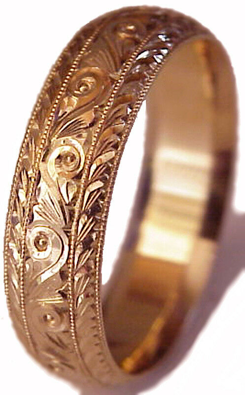 New Hand Engraved Woman 14k Rose Gold 6mm Wide Wedding Band Ring Comfort Fit Ebay
