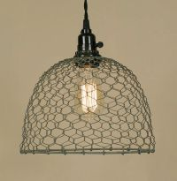 Vintage Rustic Industrial Chicken Wire Dome Pendant Light ...