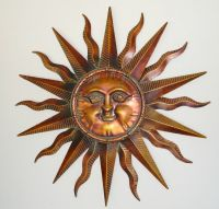 Copper Patina Sun Face Extra Large Sunburst Metal Wall Art