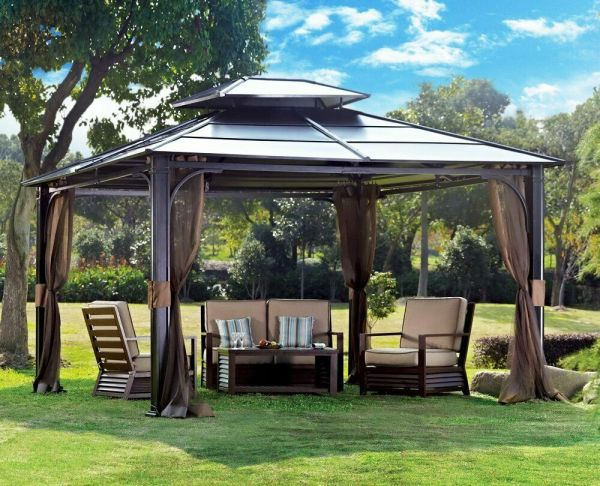 10 X 12 Hardtop Metal Steel Roof Outdoor Patio Gazebo Aluminum Poles Sunjoy