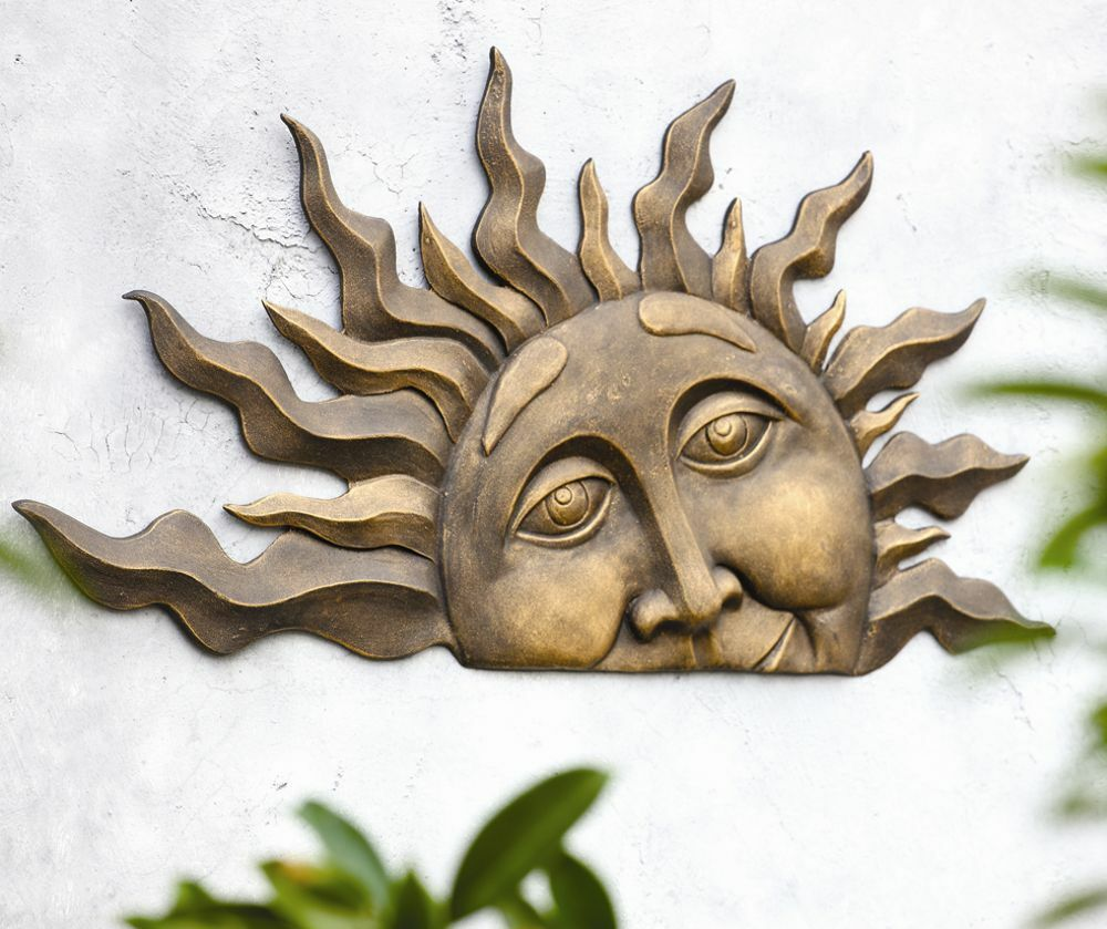 Rising Sun Face Wall Hanging Indoor Outdoor Half Sunburst