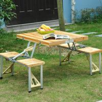 Portable Folding Camping Picnic Table 4 Chair Set Outdoor ...