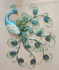 Pretty Peacock Wall Decor Hanging Metal Sculpture Art ...