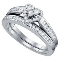WOMENS HEART SHAPE DIAMOND ENGAGEMENT PROMISE HALO RING ...