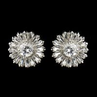 STARBURST CZ WEDDING EARRINGS Prom Silver Cubic Zirconia