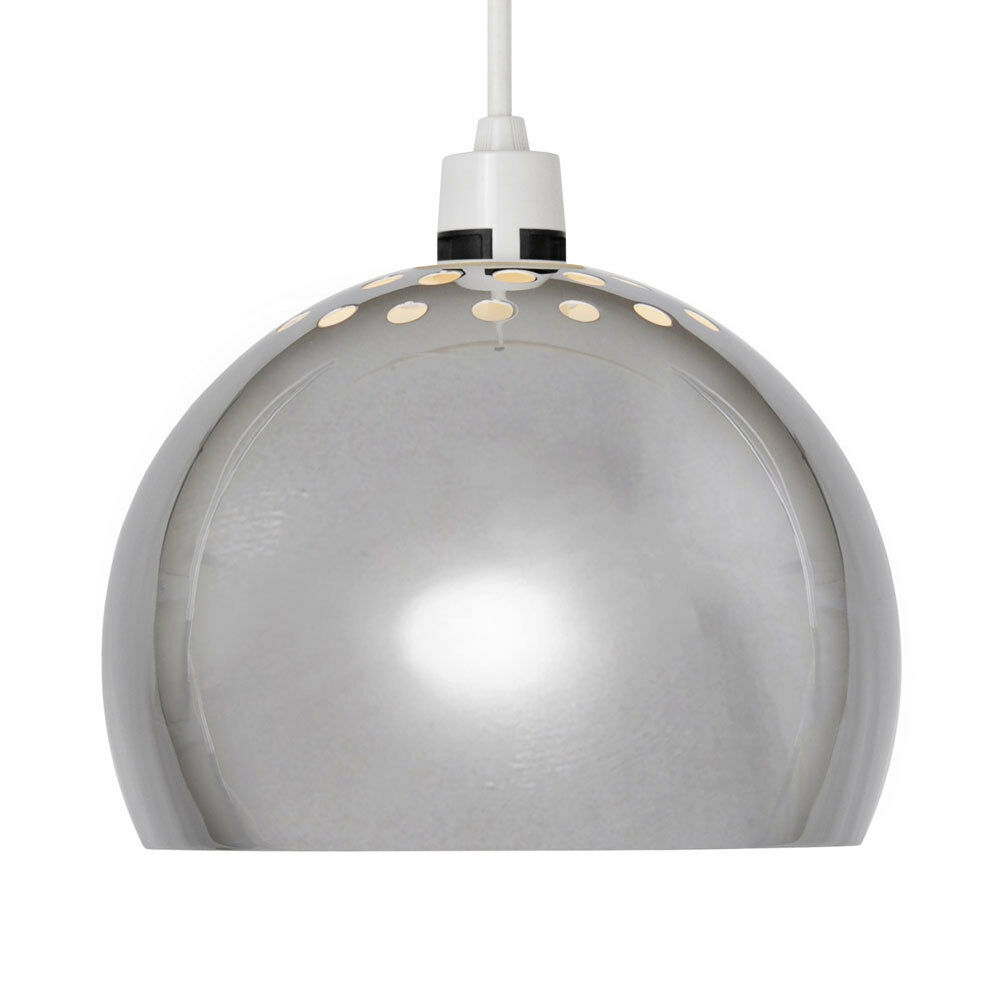 Modern Silver Chrome Arco Style Retro Dome Ceiling Pendant