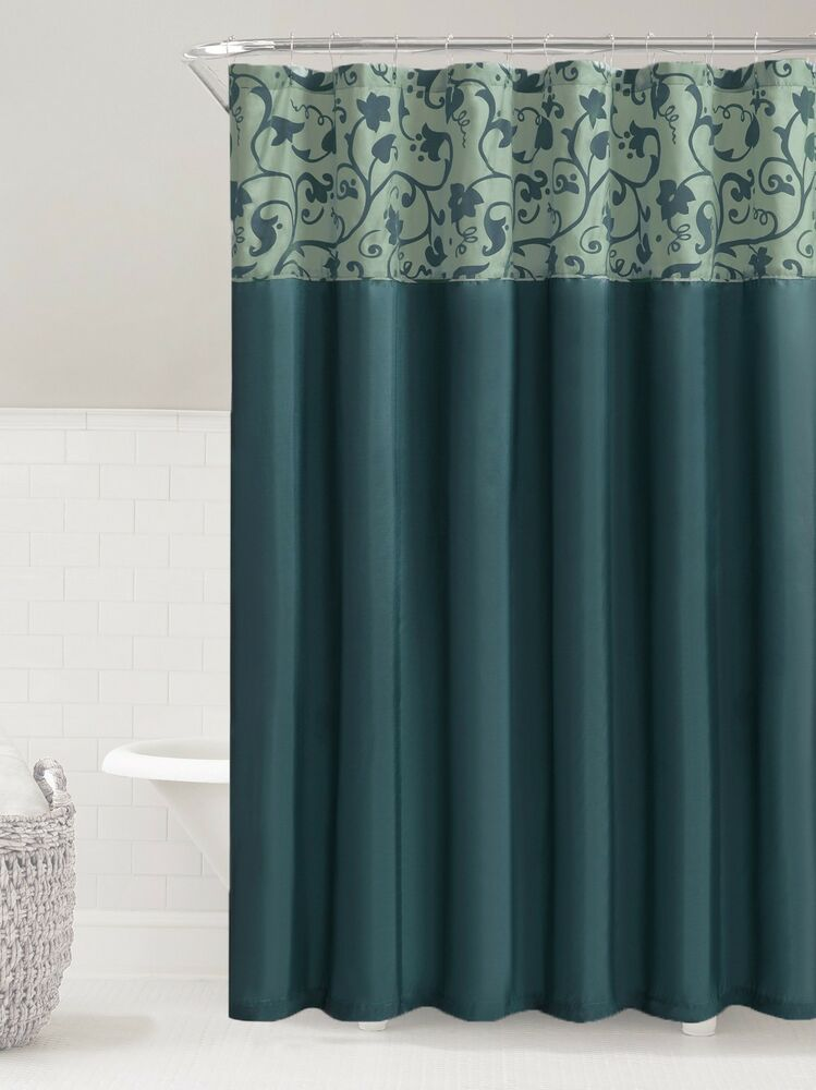 Teal  Steel Blue Faux Silk Fabric Shower Curtain Embossed