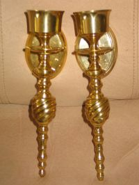 CENTURY WALL SCONCES ,CANDLE HOLDERS SOLID BRASS 10