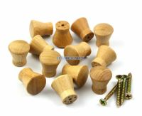 50 Pieces 17mm Unpainted Small Wooden Drawer Pull Cabinet ...