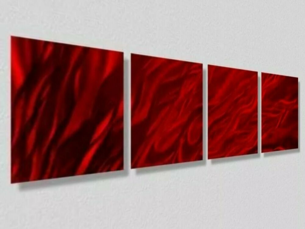 Red Accents Contemporary Abstract Metal Wall Art Home