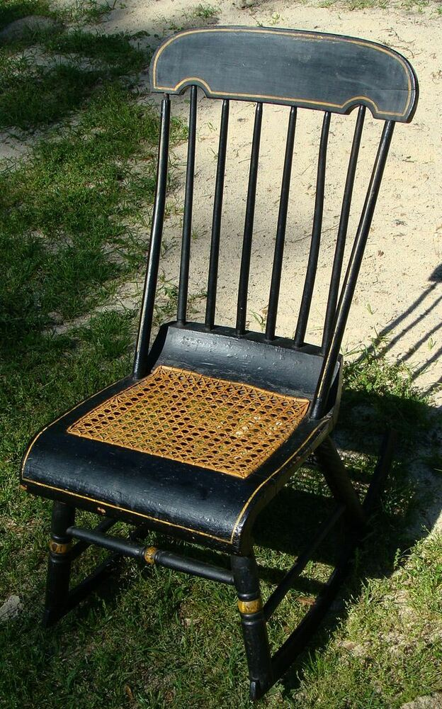 cane bottom chairs pittsburgh steelers victorian eastlake style and windsor back rocking chair | ebay
