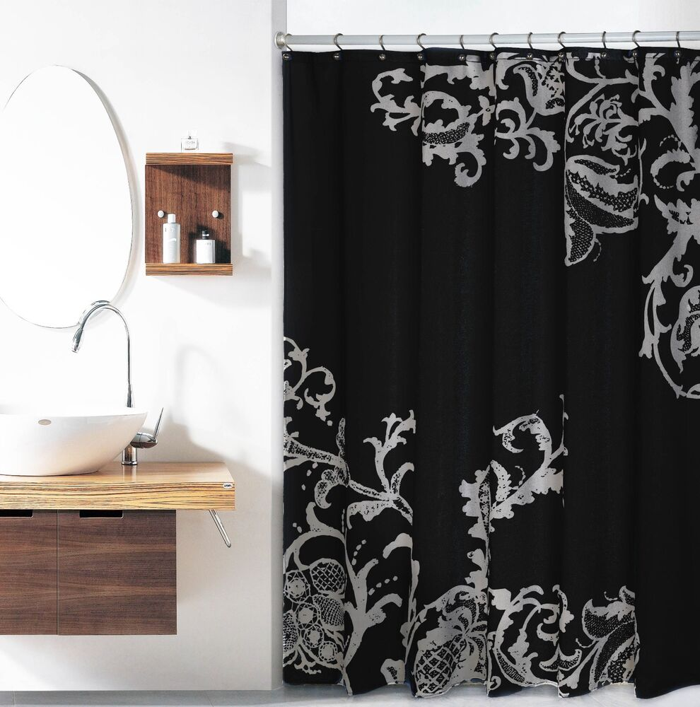Black Luxury Fabric Shower Curtain With Gray Floral Pattern EBay