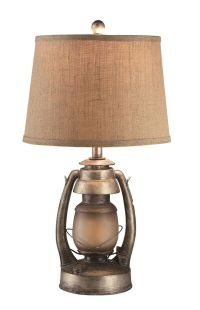 Vintage Oil Lantern Table Lamp With Night Light Burlap ...