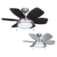 Modern 3 Speed Silver / Brushed Chrome 6 Blade Ceiling Fan ...