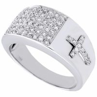 Diamond Cross Pinky Ring Mens 14K White Gold Engagement