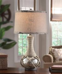 Nautical Coastal Rope & Mercury Glass Table Lamp Freeport