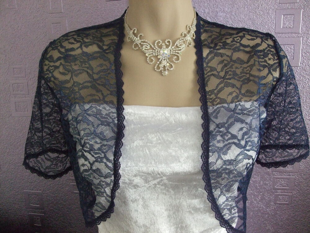 NAVY MIDNIGHT BLUE LACE SHRUG BOLERO NEW SIZES 10 24