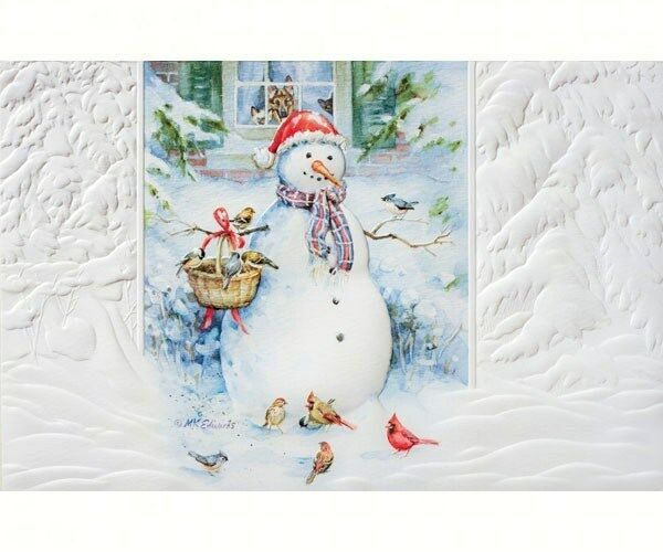 Box of 16 CHRISTMAS Cards SNOWMAN BIRDS Pumpernickel
