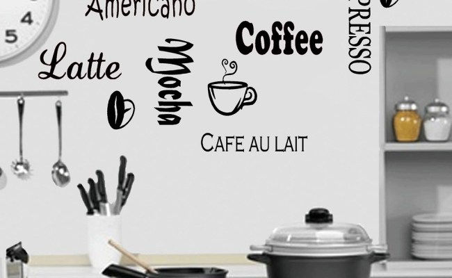 Large Coffee Kitchen Wall Quote Stickers Cafe Vinyl Art