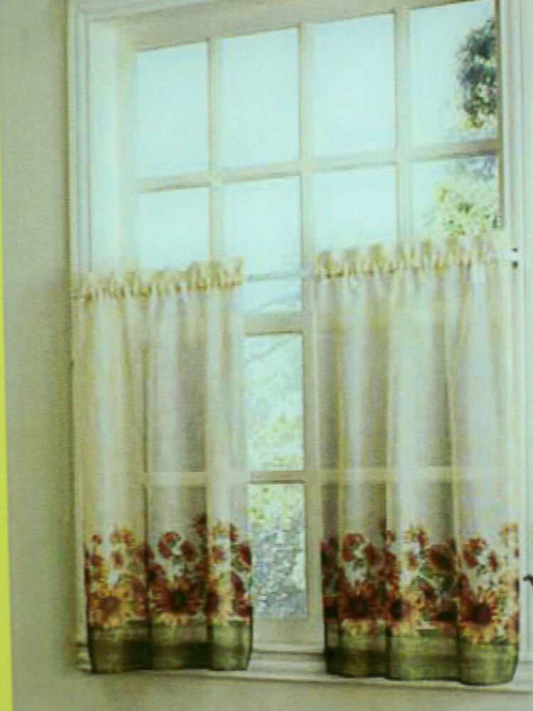 New One Sunflower printed Tier pair Kitchen Curtains 56x