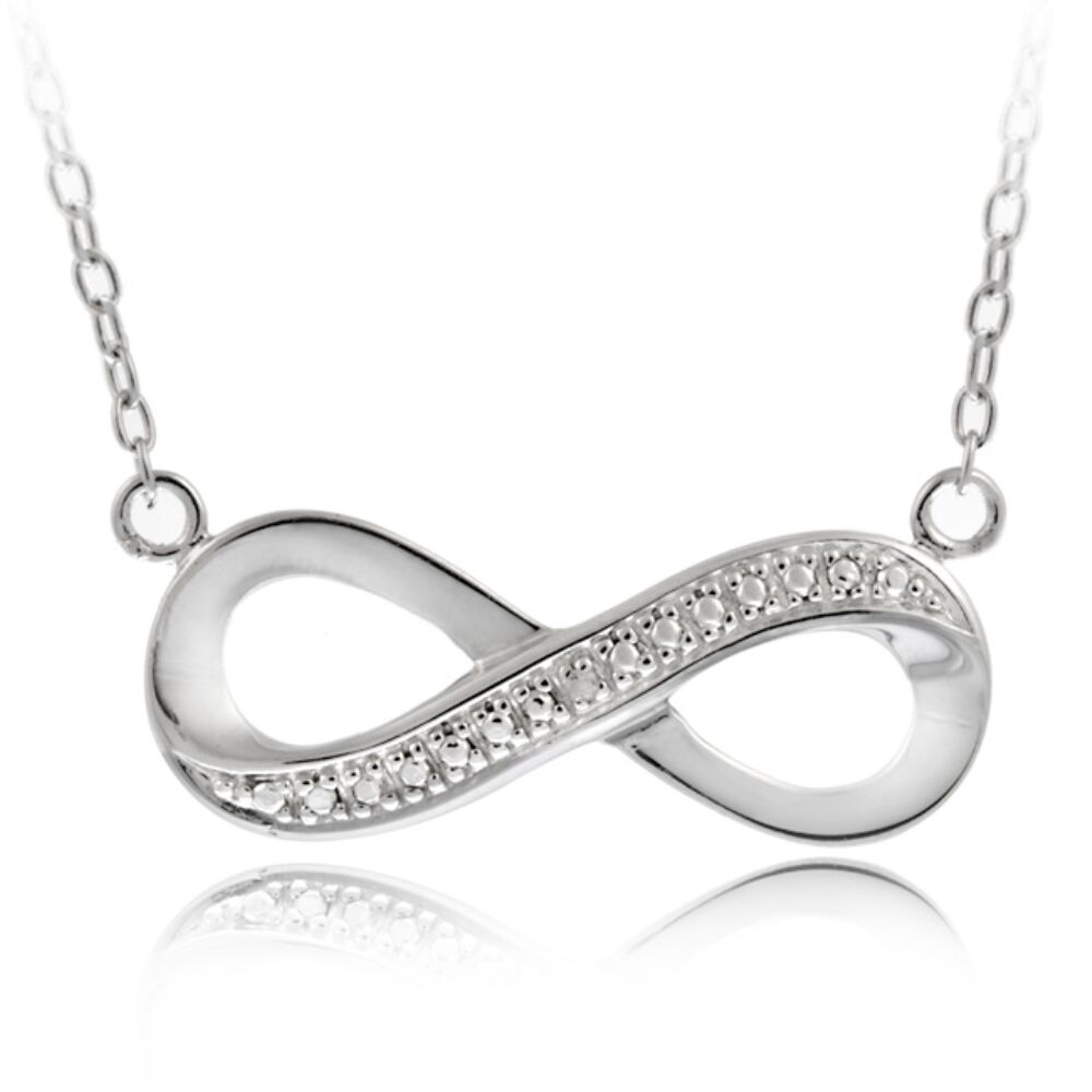 925 Sterling Silver Diamond Accent Infinity Necklace  eBay