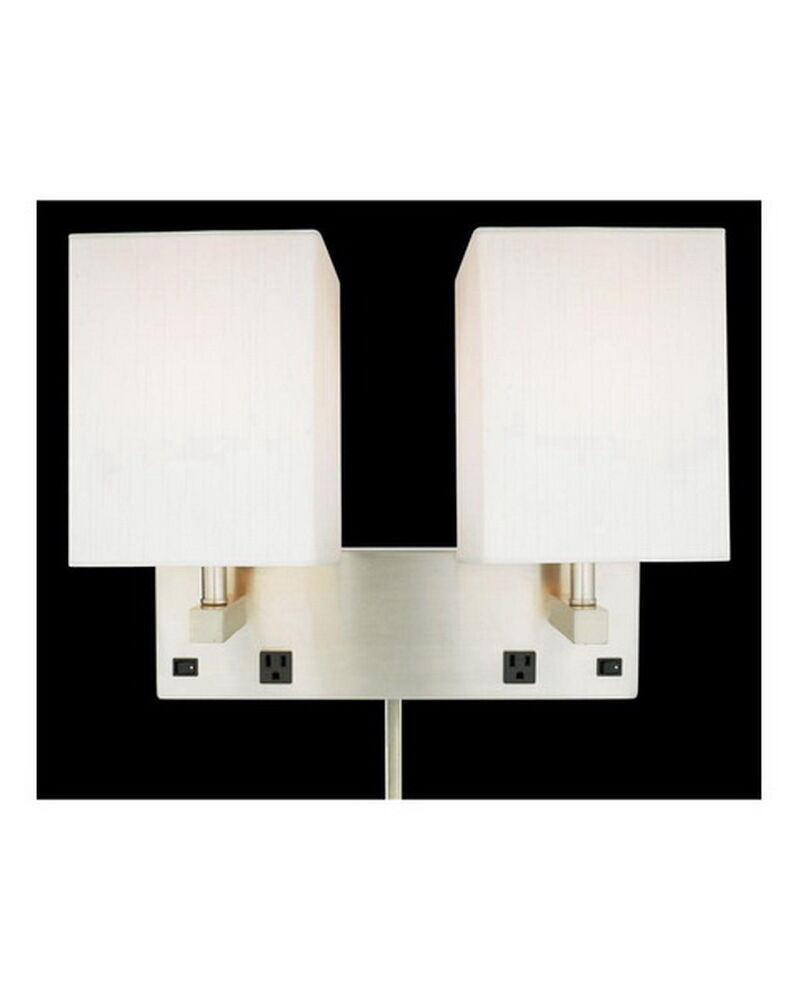 Brushed Nickel Plug In 2 Light Wall Sconce With 2 Outlets