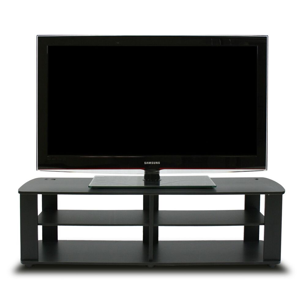 Black Tv Stand Media Entertainment Center 42 50 60 Inch Flat Screen Television  eBay