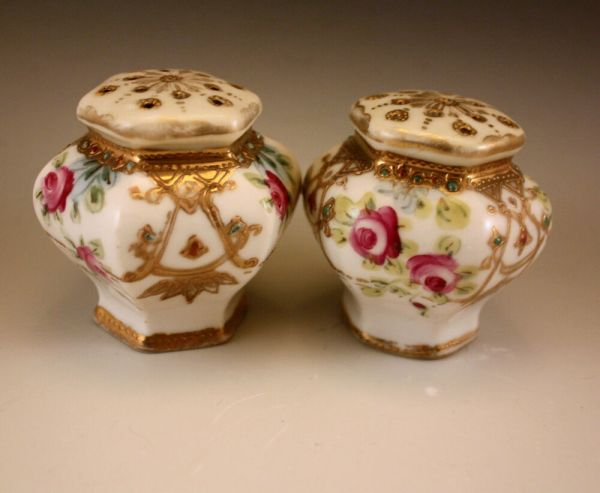 Antique Nippon Roses Moriage Salt And Pepper Shakers Set