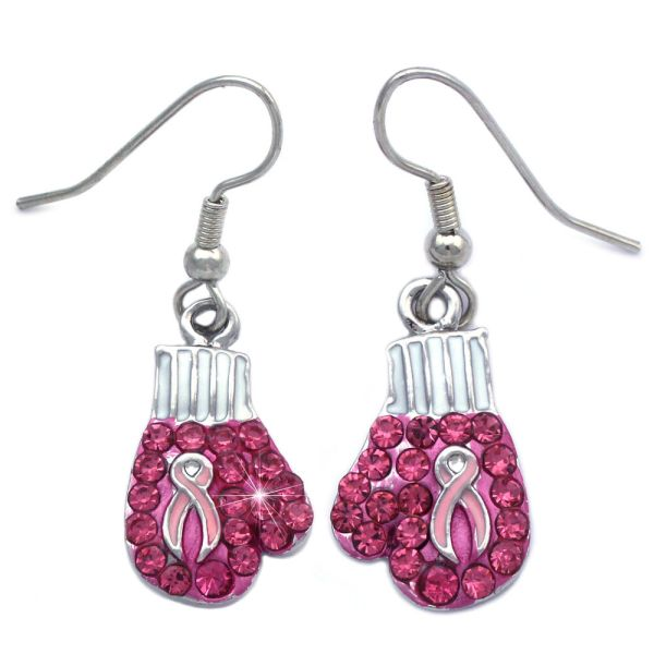 Support Breast Cancer Awareness Boxing Glove Drop Dangle