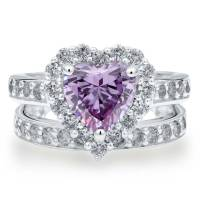 BERRICLE 925 Silver Heart Shaped Purple CZ Halo Engagement ...